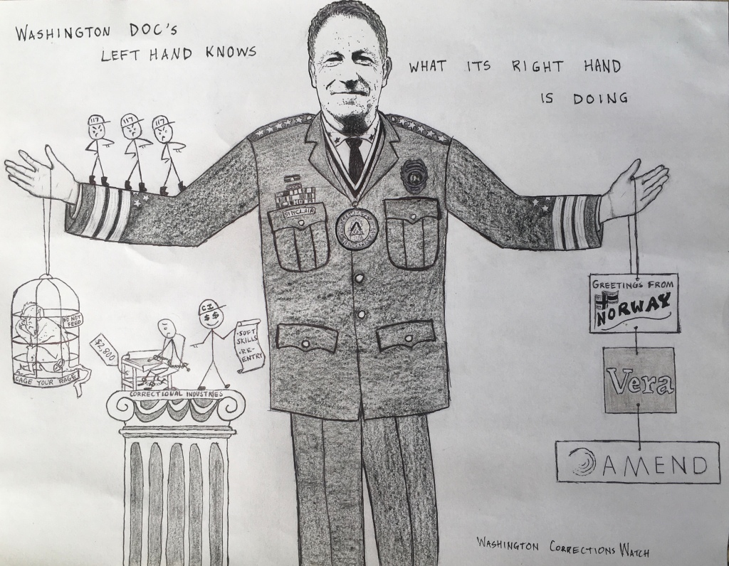 """A political cartoon features Washington Department of Corrections Secretary Steven Sinclair holding the logos of various progressive non-profit criminal justice reform organizations in his left hand and the accoutrements of solitary confinement and its systemic reinforcements on his right. Words above the Secretary read: """"The Washington Department of Corrections' left hand knows what its right hand is doing."""""""
